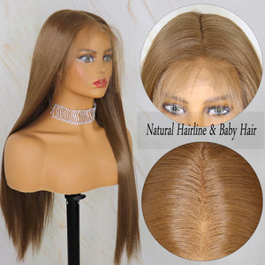 Natural Hairline Flax Blonde Synthetic Lace front Wigs Women Long Wavy Hair Wig