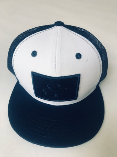Navy and White Flat Brim (Now in adult and child size)