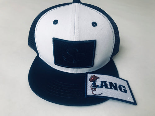 Navy and White Flat Brim Bub Cap plus 1 Lang Patch