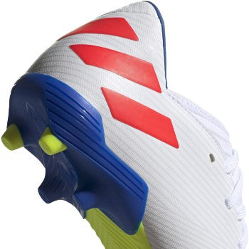 Youth JR Nemeziz Messi 19.3 Firm Ground Cleats - Cloud White / Solar Red / Football Blue