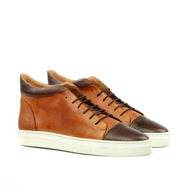 Q by Qs Cognac Bowie High Top Sneakers Handmade Bespoke Men's Shoes