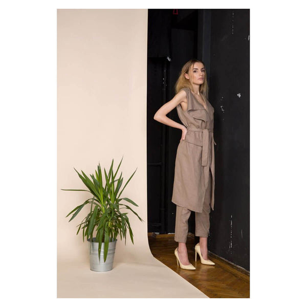 Acurrator Brown Linen Trousers and Vest Co Ordinates