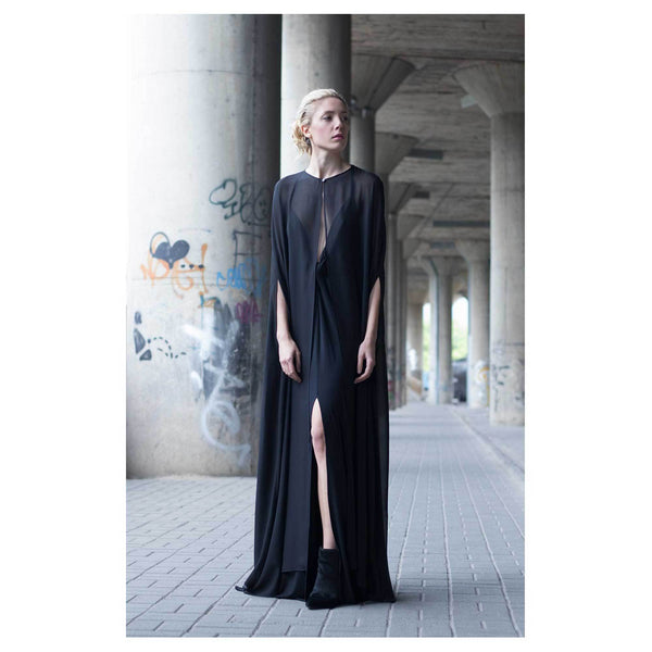Bastet Noir Black Silk Cape Dress