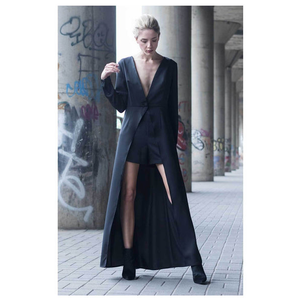 Apparel - Black Silk Maxi Dress With High Waist Shorts