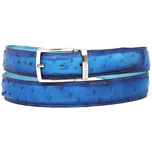 Apparel - Men's Genuine Ostrich Leather Belt - Ocean Blue