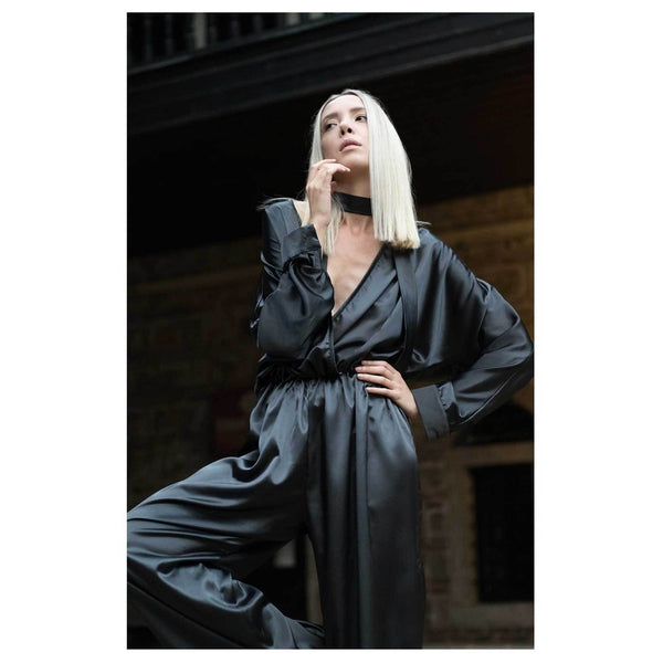 Apparel - Plunging Neckline Satin Jumpsuit - Black