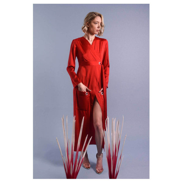 Apparel - Red Silk Shirt Dress With Front Pockets