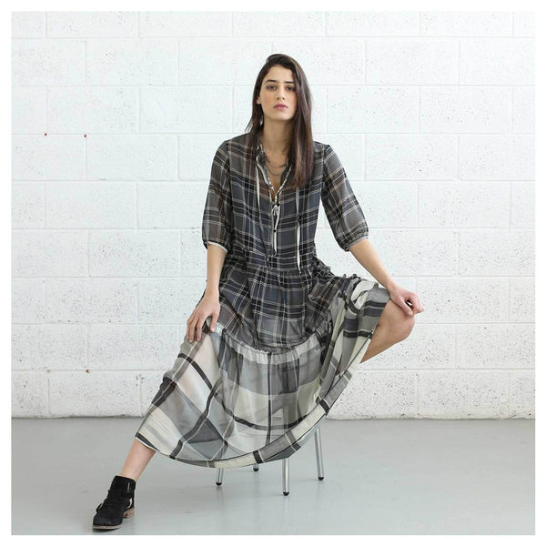 Apparel - Sheer Plaid Maxi Dress