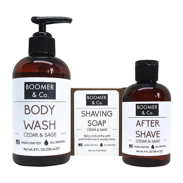 Boomer and Co Cedar and Sage Mens Grooming Kit
