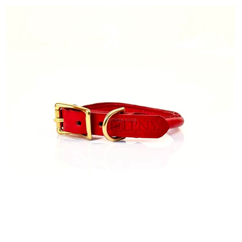 Leather Paws New York Rolly Red Leather Dog Collar