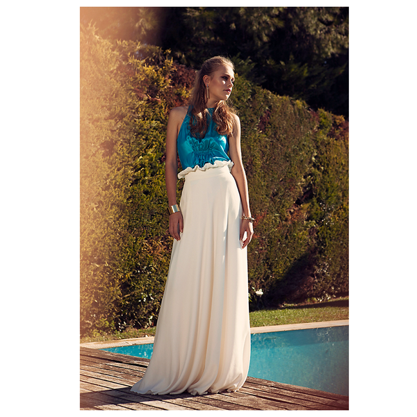 Menestho Bamboo and Silk High Waist Long Skirt - White