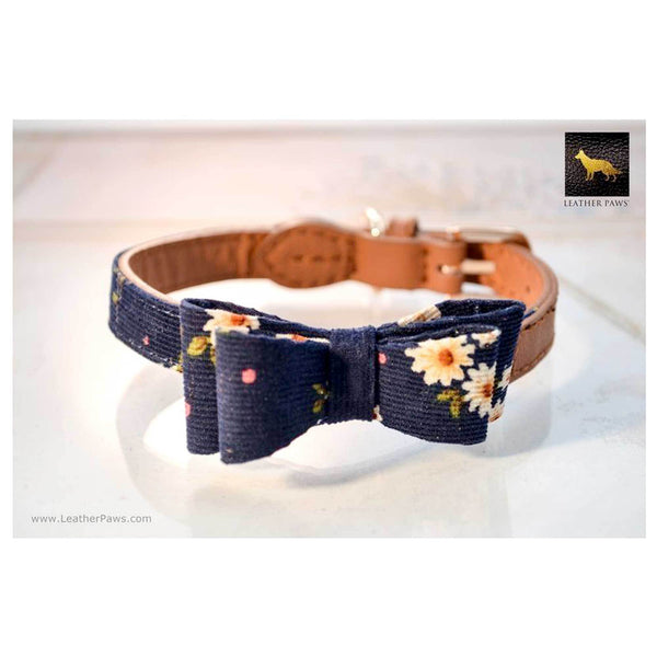 Leather Paws New York Navy Daisies Bow Tie Leather Dog Collar