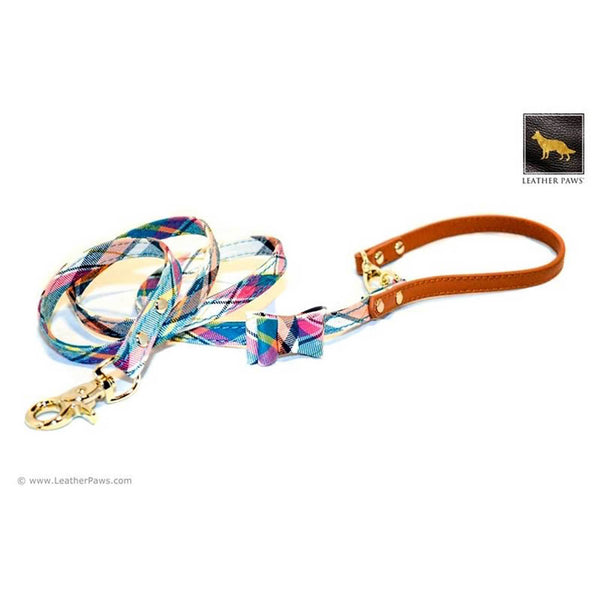 Leather Paws New York Ocean Plaid Bow Tie Leather Dog Leash