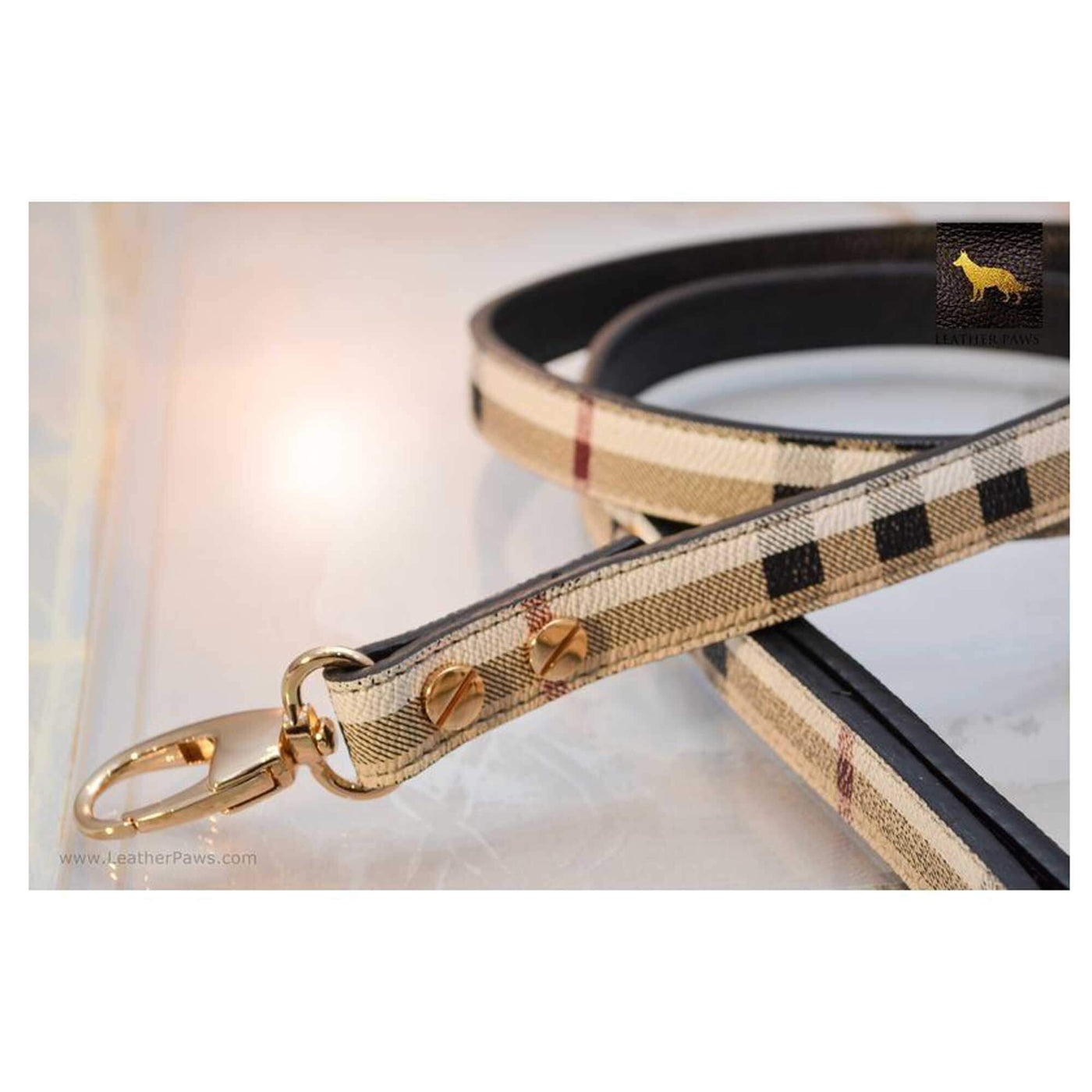Pets - Plaid Designer Leather Dog Leash
