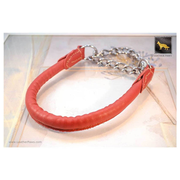 Pets - Rose Red Leather Dog Collar