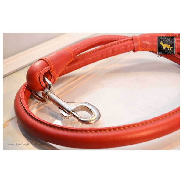 Leather Paws New York Rose Rolled Leather Dog Leash