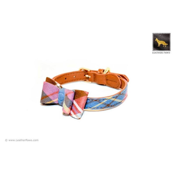 Leather Paws New York Universe Plaid Bow Tie Leather Dog Collar