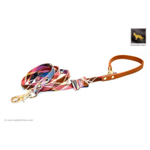 Leather Paws New York Universe Plaid Bow Tie Leather Dog Leash