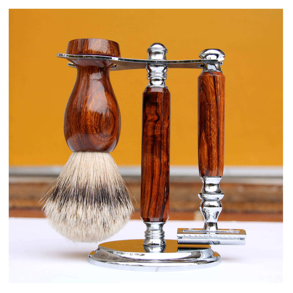 WoodElfin Handmade Wooden Wet Shaving Kit