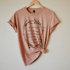 Herb Wreath Womens Tee - Rose