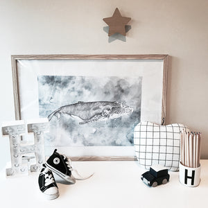 Humpback whale watercolour kids art print in boys room with kids decor