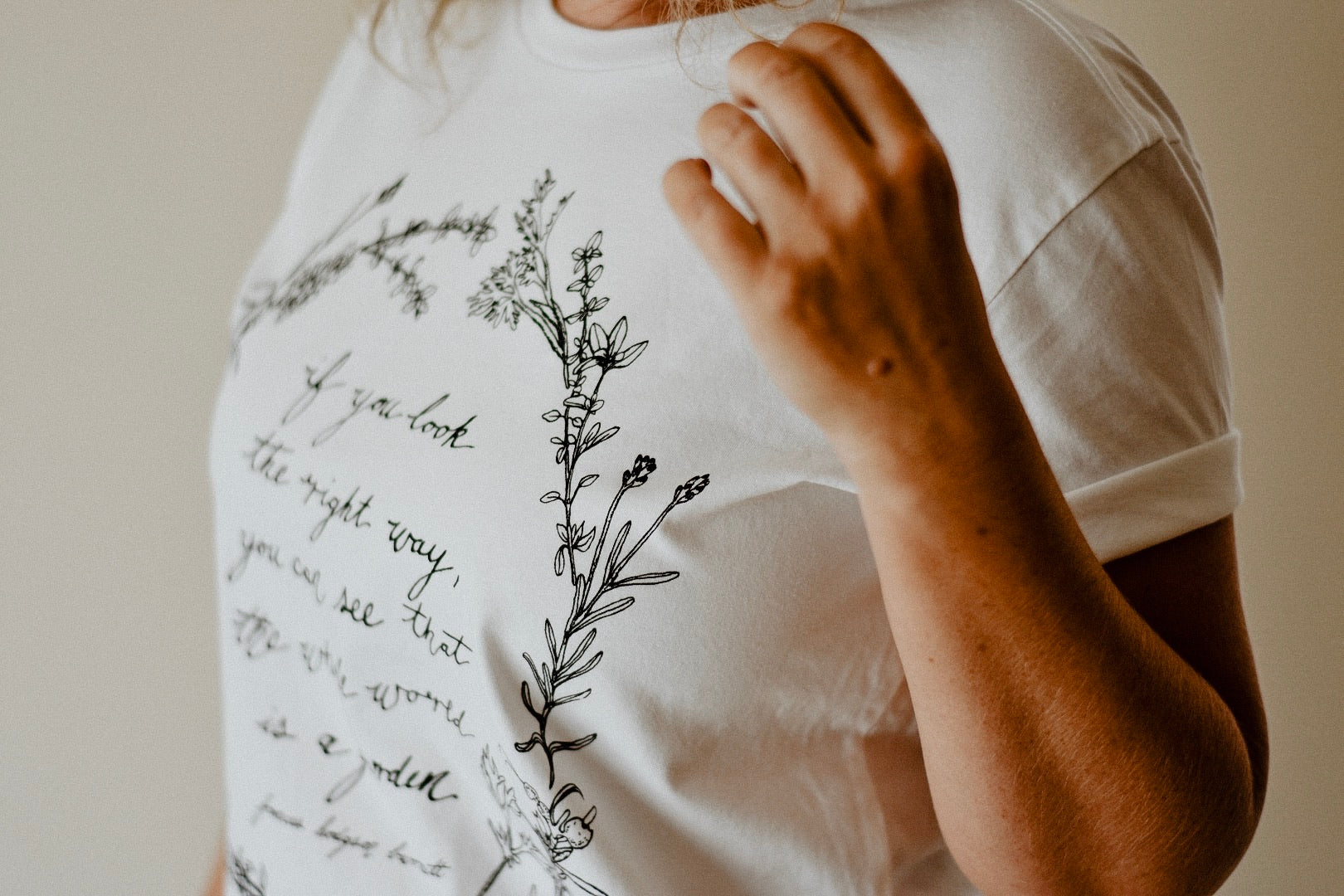 Herb Wreath Womens Tee - White