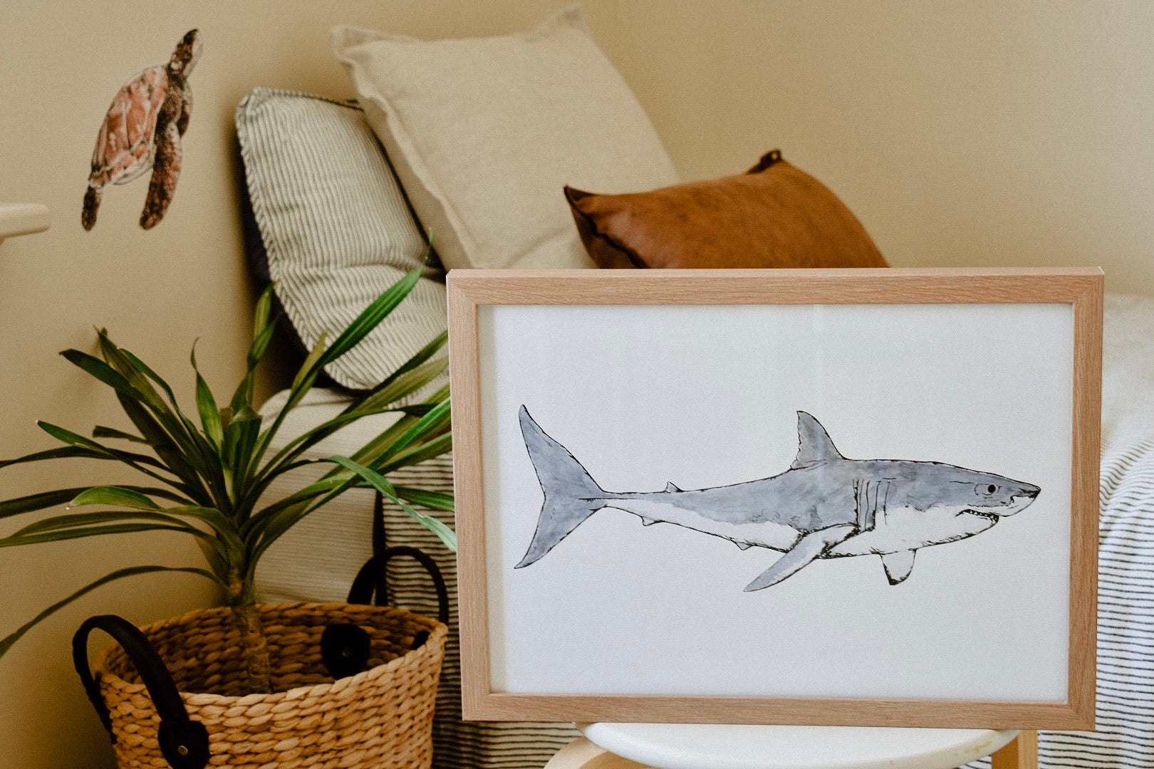 Duke the Great White Shark Print