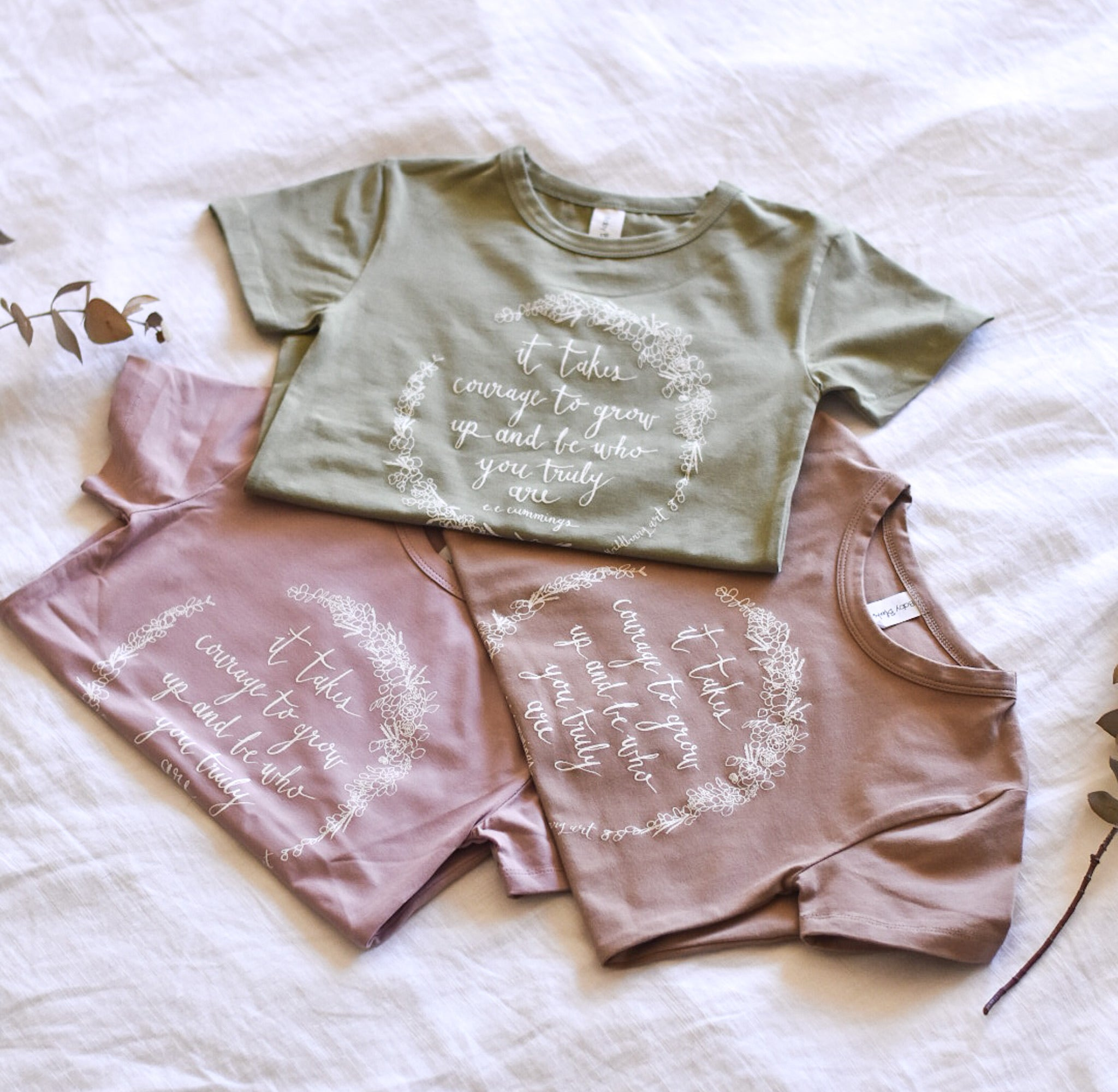 It Takes Courage Kids Tee - Mauve Mist - SIZE 4
