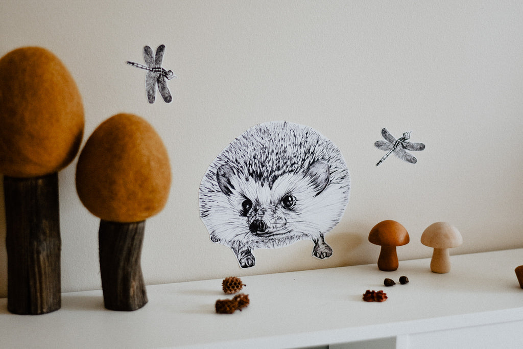 Mrs Wellington the Hedgehog Fabric Wall Decal - plus FREE DRAGONFLIES