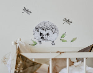 Mrs Wellington the Hedgehog Fabric Wall Decal
