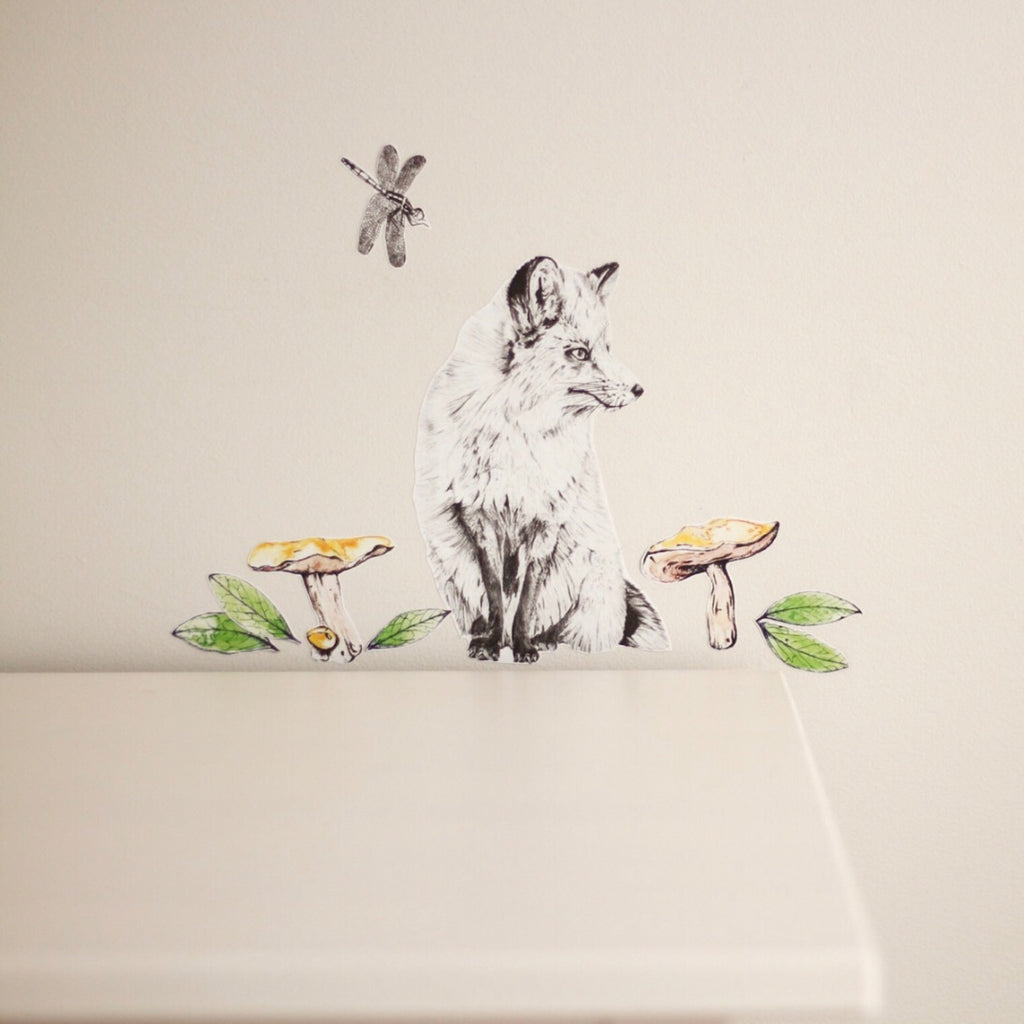 Woodlands theme Fox fabric wall decal stickers for kids room and boys nursery