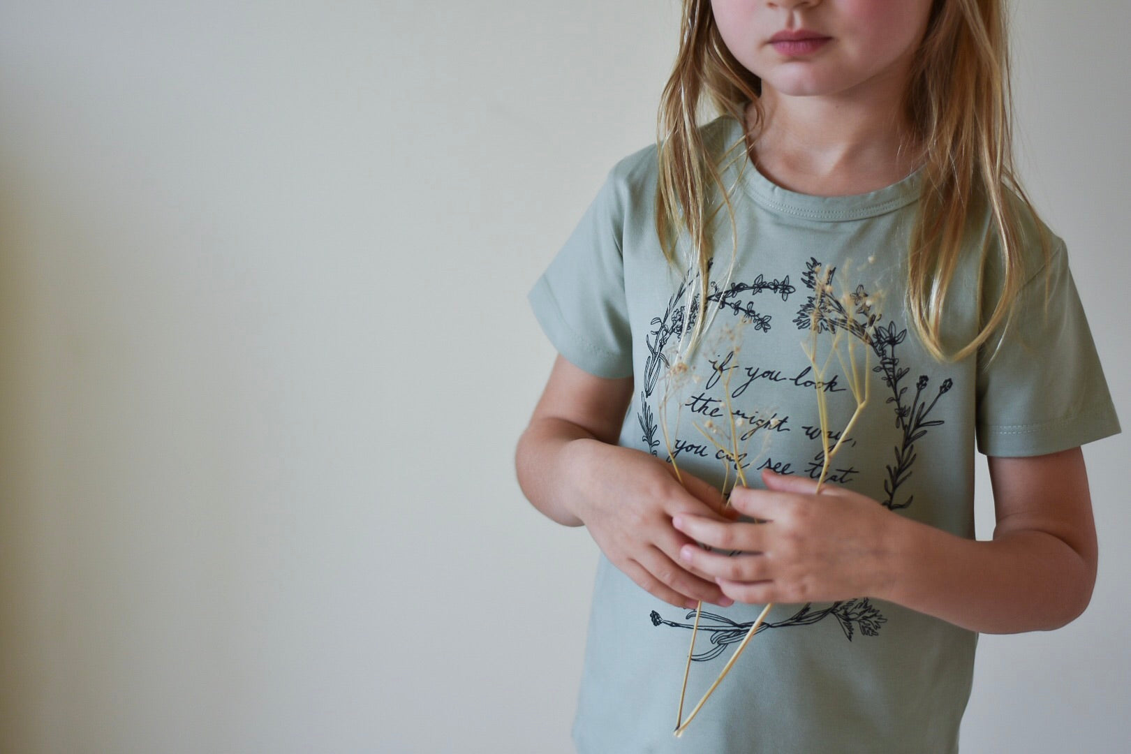 Herb Wreath KIDS Tee - Sage