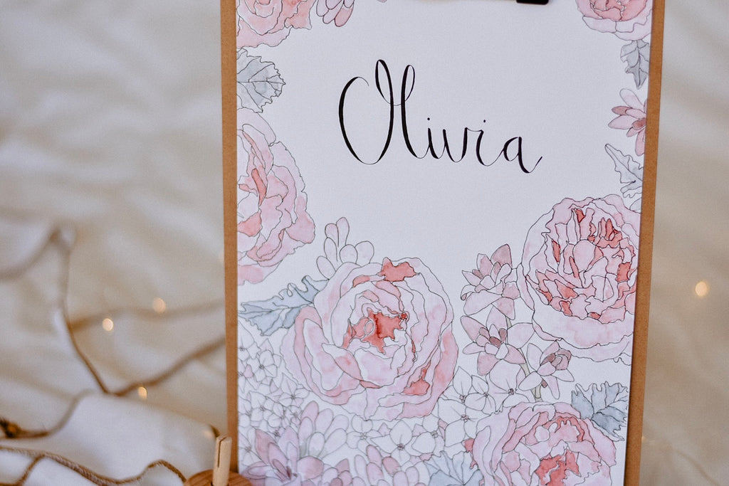 Vintage Rose Custom Name Print