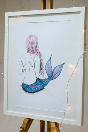 Whimsical mermaid watercolour print for girls boho bedroom and nursery