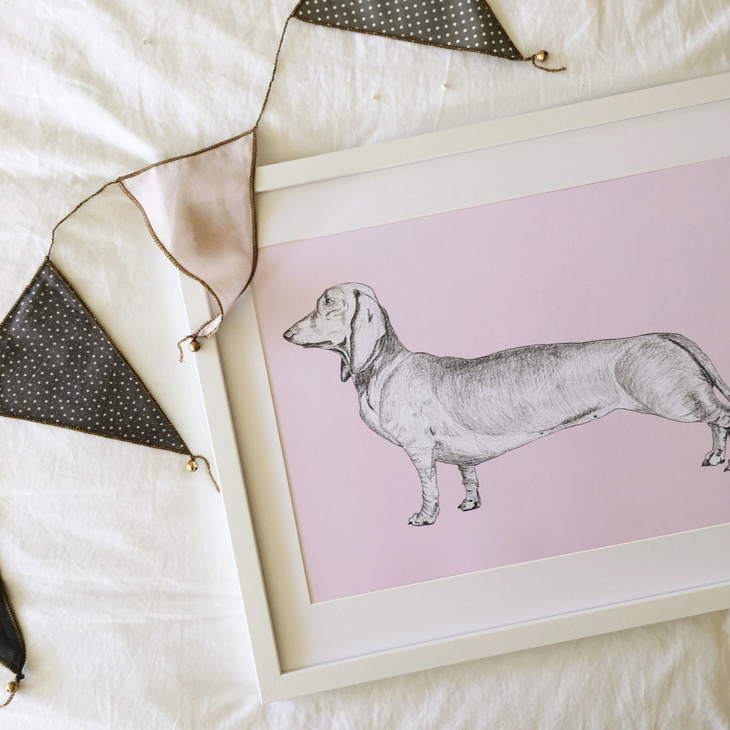 Pink Dachshund wall art print for baby girls nursery or little girls bedroom