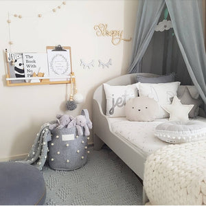 Boys kid print in boys scandi grey bedroom