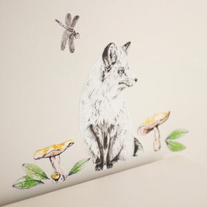 Woodlands Fox fabric wall decal stickers for kids room and neutral nursery