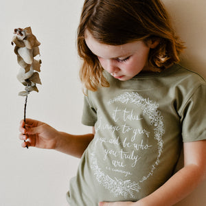 It Takes Courage Kids Tee - Sage