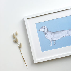 Dachshund children's art print for little boys blue bedroom