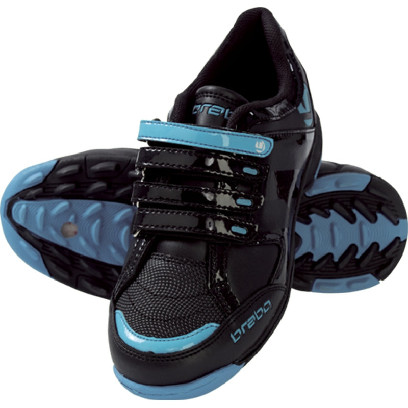 Zapatillas Hockey Brabo Velcro Shoes Negro Azul Infantil