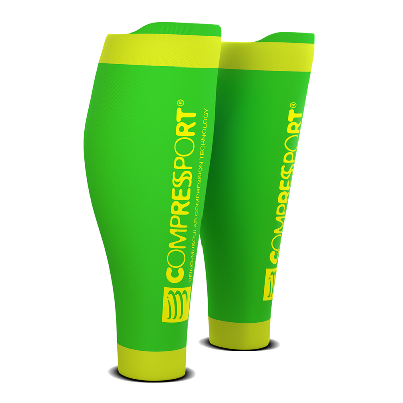 Media Compresiva Compressport R2 v2 Verde Fluor