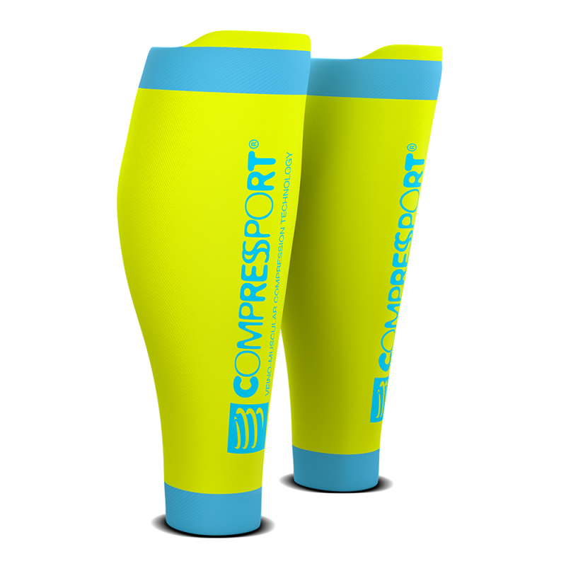 Media Compresiva Compressport R2 v2 Amarillo Fluor