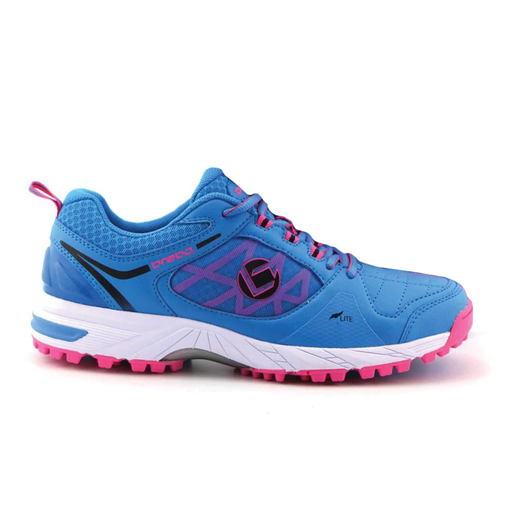 Zapatillas Hockey Brabo Tribute Azul Rosa Infantil