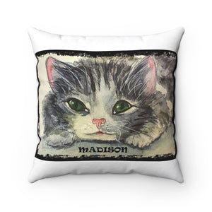 Personalized Playful Cat Pillow in Watercolor