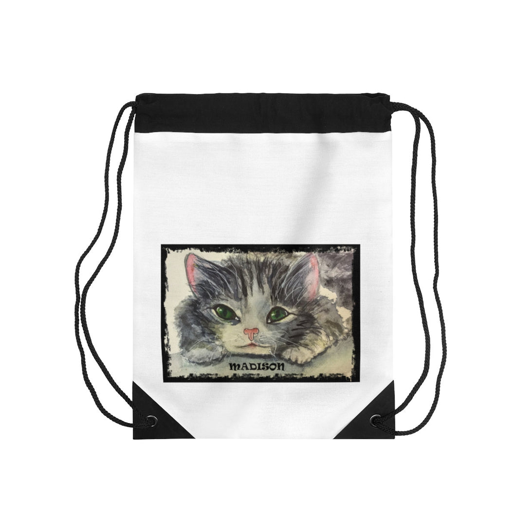Personalized Playful Watercolor Kitten Drawstring Bag