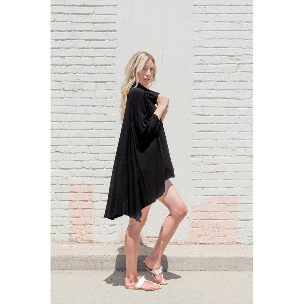 Black Hooded Dress Top. Side view