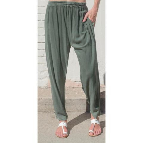 Sage tapered pants. Front view.