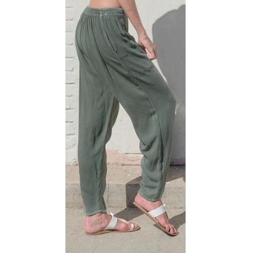 Sage tapered pants. Side view.