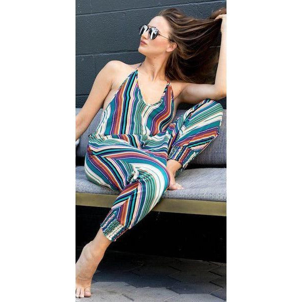 Striped Harem Jumpsuit - Sage Moon