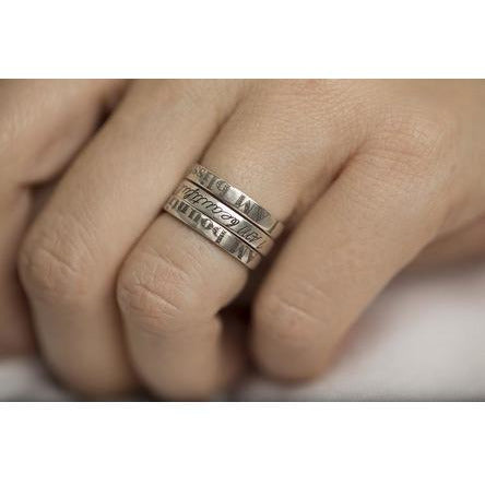 I AM Silver Stacking Rings on finger
